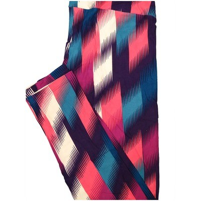 LuLaRoe Tall Curvy TC Trippy Stripe Purple Pink White Teal Leggings (TC fits Adults 12-18) TC-7225-N6