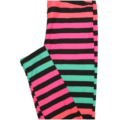 LuLaRoe One Size OS Stripe Black pink Teal Stripe Buttery Soft Leggings - OS fits Adults 2-10
