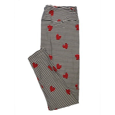 LuLaRoe One Size OS Stripes Hearts Black White Red Valentines Stripe Buttery Soft Leggings - OS fits Adults 2-10