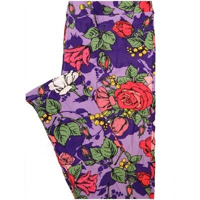 LuLaRoe Tall Curvy TC Roses Purple Blue Red White Green Leggings (TC fits Adults 12-18) TC-7226-B8