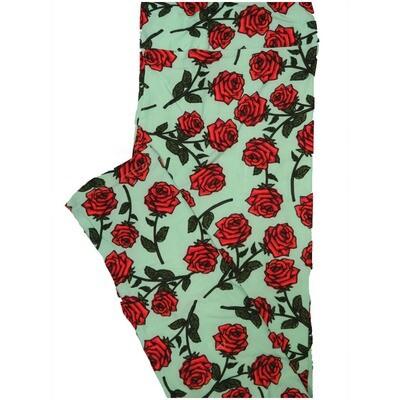 LuLaRoe Tall Curvy TC Roses Mint Red Black Leggings (TC fits Adults 12-18) TC-7223-G11