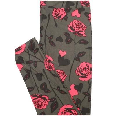 LuLaRoe Tall Curvy TC Roses Light Brown Pink ro Womens Buttery Soft Leggings (TC fits Adults 12-18)