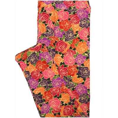 LuLaRoe Tall Curvy TC Roses Orange Black Purple Red Leggings (TC fits Adults 12-18) TC-7225-P5