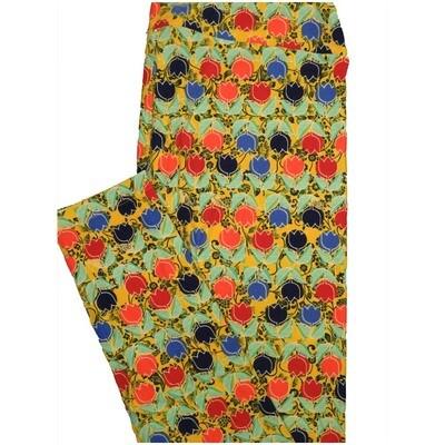 LuLaRoe Tall Curvy TC Stripe Tulip Mint Green Yellow Black Stripe Womens Buttery Soft Leggings (TC fits Adults 12-18)