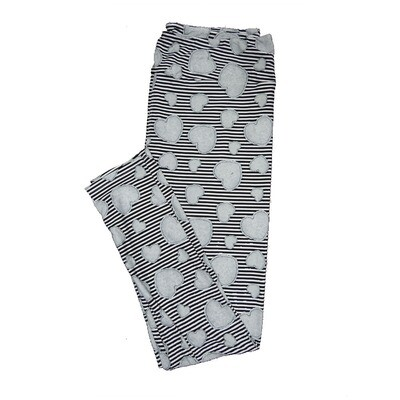 LuLaRoe Tall Curvy TC Black Gray Hearts Stripe Valentines Womens Buttery Soft Leggings (TC fits Adults 12-18)