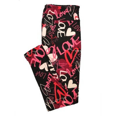 LuLaRoe Tall Curvy TC Love All Ways Hearts Black Pink Red White Valentines Womens Buttery Soft Leggings (TC fits Adults 12-18)