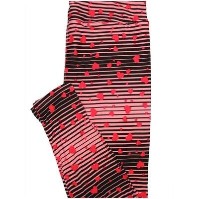 LuLaRoe Tall Curvy TC Stripes Hearts Black Pink Red Valentines Stripe Womens Buttery Soft Leggings (TC fits Adults 12-18)
