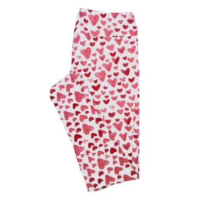 LuLaRoe Tall Curvy TC Hearts White Red Pink Valentines Womens Buttery Soft Leggings (TC fits Adults 12-18)