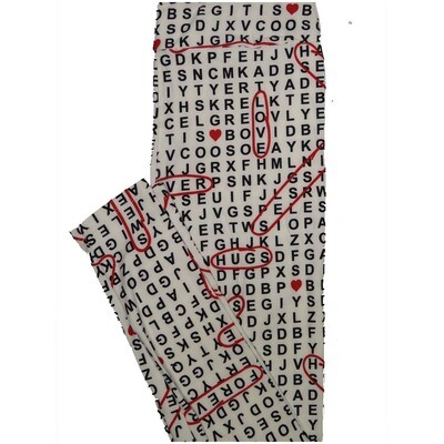 LuLaRoe Tall Curvy TC Seek and Find Of Love Hugs Forever Black White Red Halloween Valentines Womens Buttery Soft Leggings (TC fits Adults 12-18)
