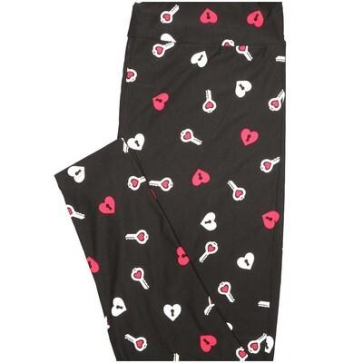 LuLaRoe One Size OS Black White Pink Love Locks Keys Valentines Buttery Soft Leggings - OS fits Adults 2-10