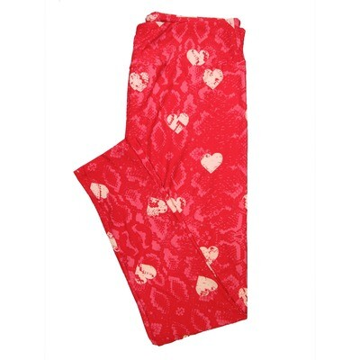 LuLaRoe One Size OS Snakeskin Hearts Pink Red Valentines Buttery Soft Leggings - OS fits Adults 2-10