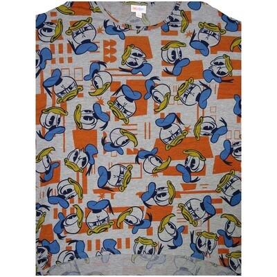LuLaRoe Irma Tunic Small S Disney Donald Duck Gray Orange Blue Yellow Ppp
