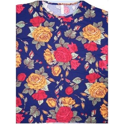 LuLaRoe Irma Tunic Small S Roses Dark Blue Yellow Red Ppp