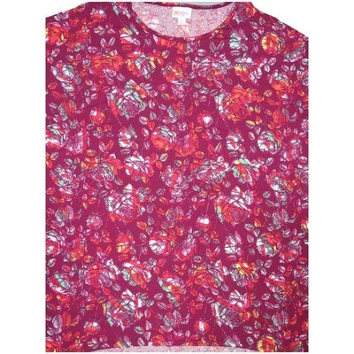 LuLaRoe Irma Tunic Small S Floral Cranberry Red Lavender White Ppp