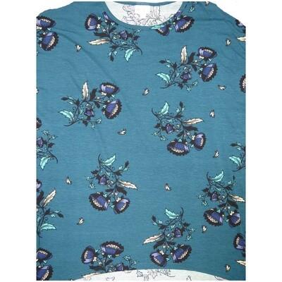 LuLaRoe Irma Tunic Small S Floral Slate Blue Black White Ppp