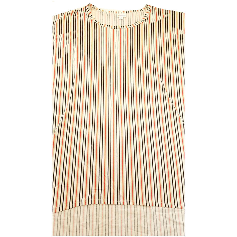 LuLaRoe Irma Tunic X-Large XL Off White Black Orange Pinstripe fits Women 20-22