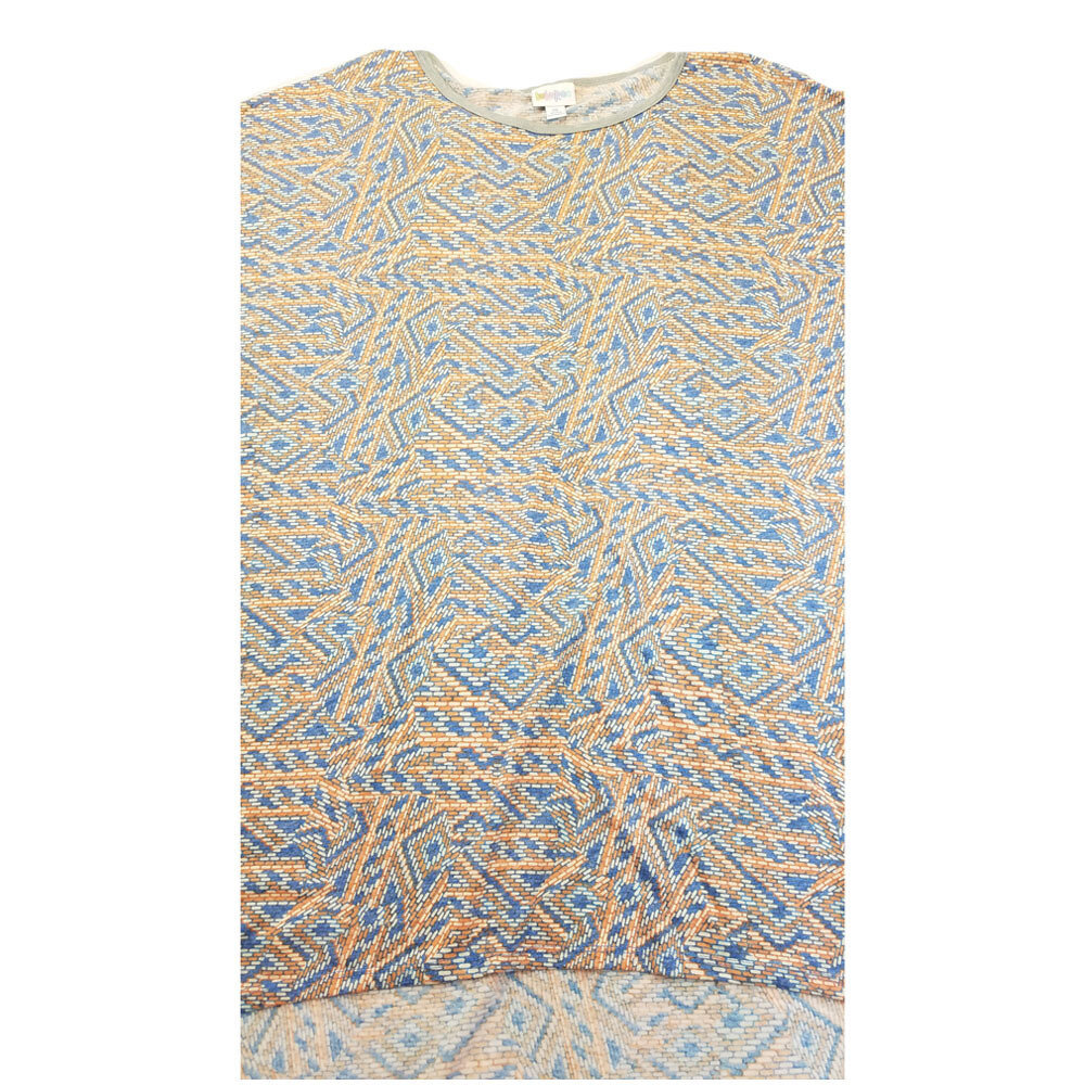 LuLaRoe Irma Tunic X-Large XL Trippy 70s Geometric Cream Beige Blue fits Women 20-22
