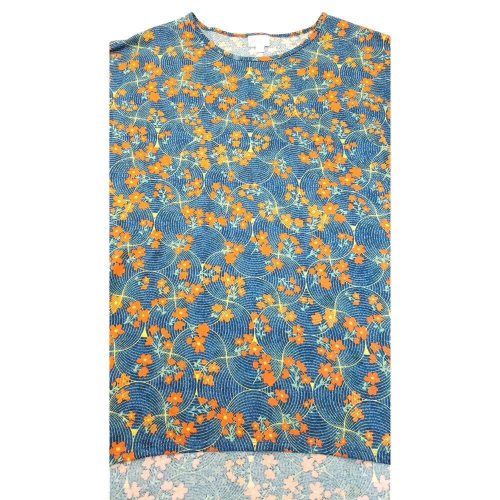LuLaRoe Irma Tunic X-Large XL Floral Blue Orange fits Women 20-22