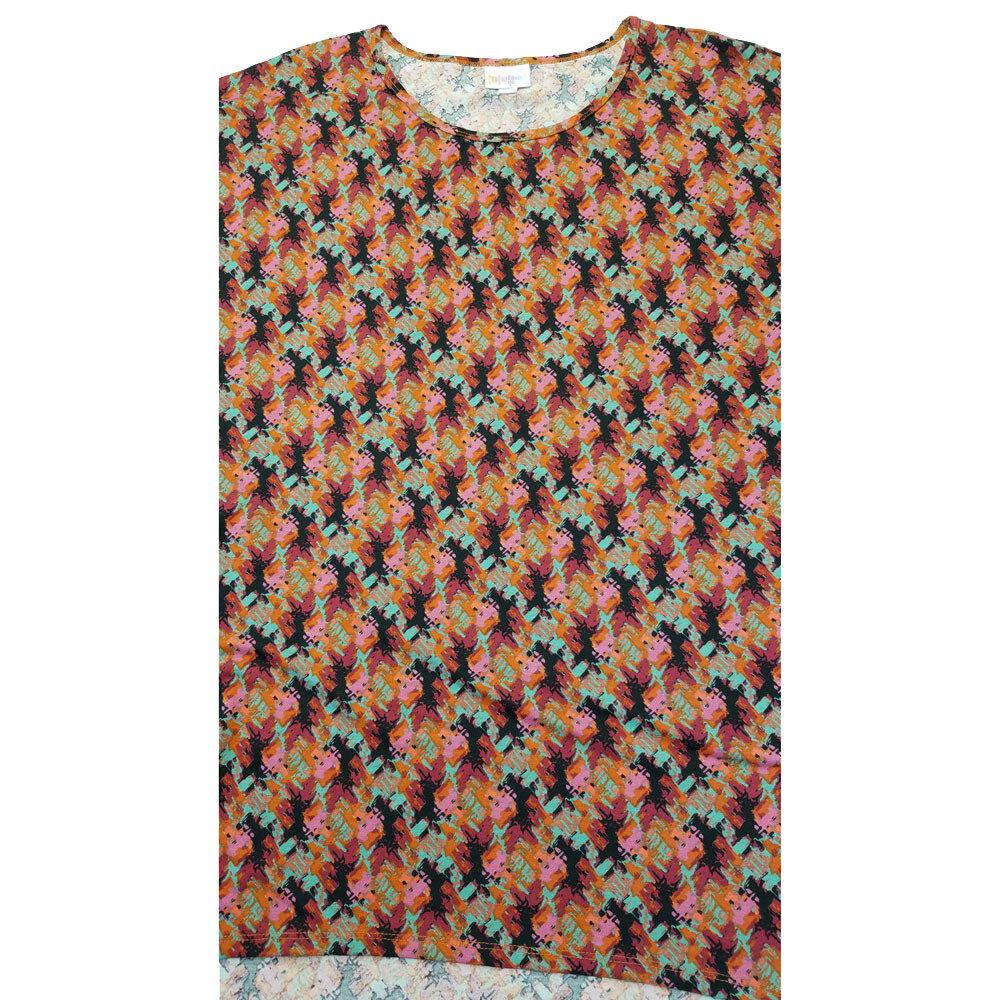 LuLaRoe Irma Tunic XX-Large 2XL Geometric Stripe Brown Orange Pink Black fits Womens 24-26