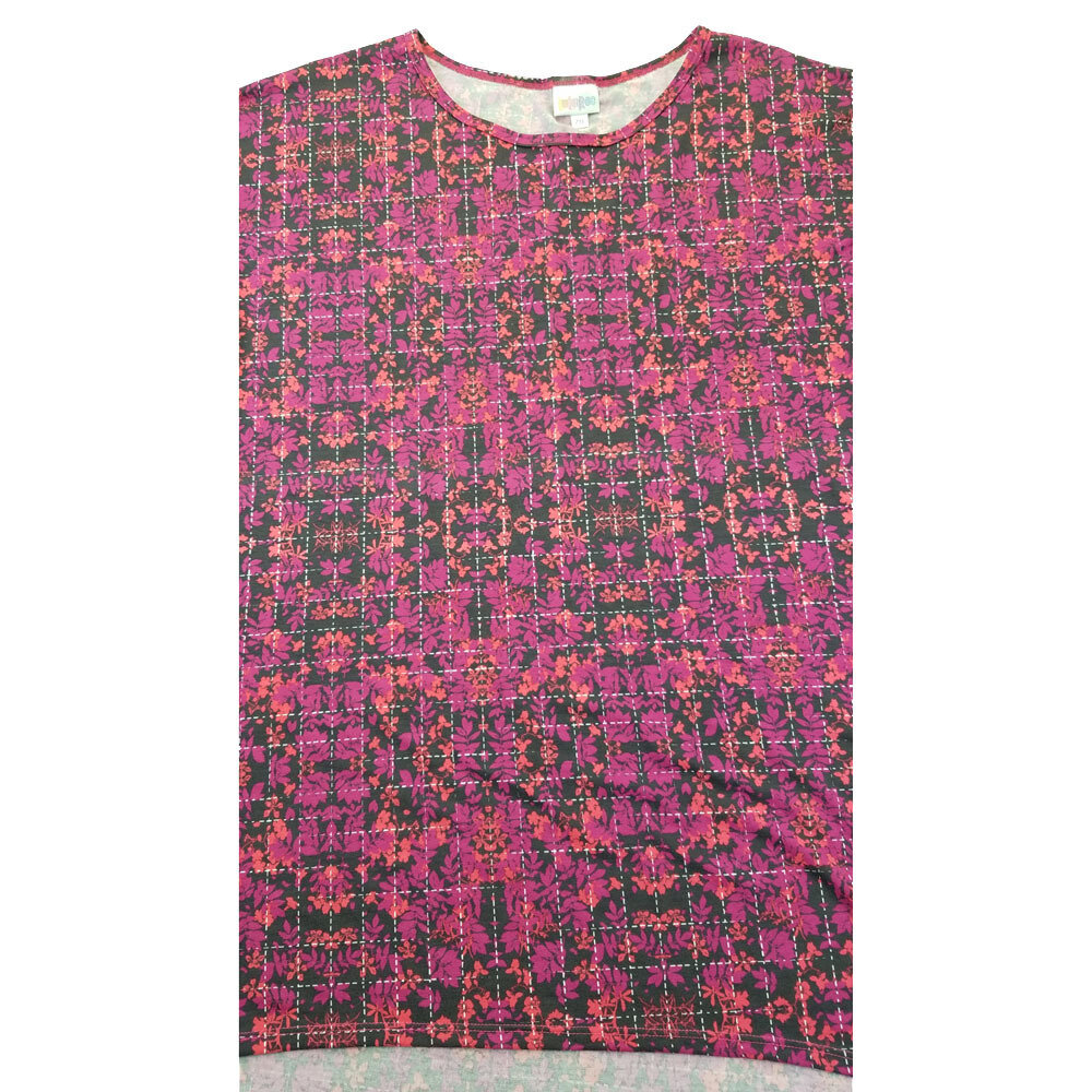 LuLaRoe Irma Tunic XX-Large 2XL Geometric Dark Gray Fucshia Light Pink Floral fits Womens 24-26