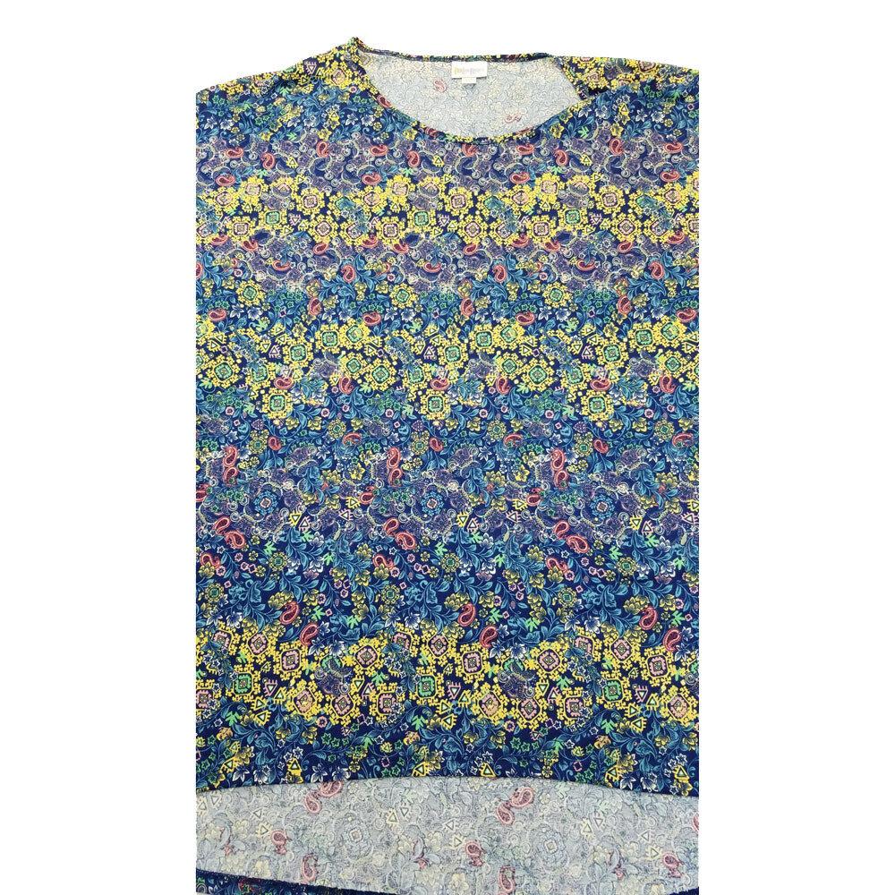 LuLaRoe Irma Tunic XXX-Large 3XL Floral Stripe Blue Yellow fits Women 26+