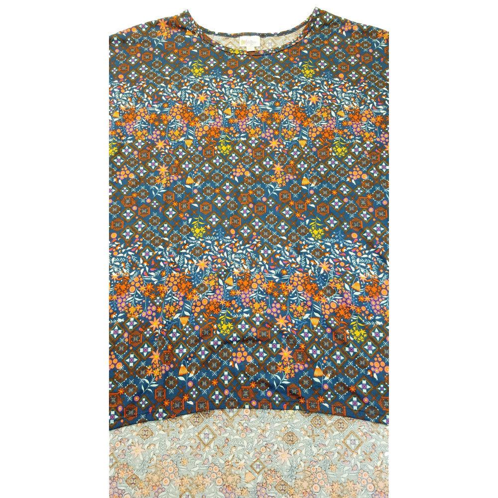 LuLaRoe Irma Tunic XXX-Large 3XL Floral Dark Blue Peach Orange Yellow Geometric fits Women 26+