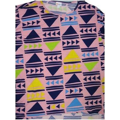 LuLaRoe Irma Tunic XX-Large 2XL Geometric Triangles Play Fast Forward Pink Blue Green Yellow fits Womens 24-26