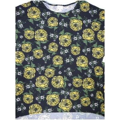 LuLaRoe Irma Tunic XX-Large 2XL Floral Black Yellow Green White fits Womens 24-26