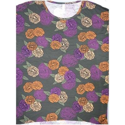 LuLaRoe Irma Tunic XX-Large 2XL Roses Floral Dark Green Purple Orange Yellow fits Womens 24-26