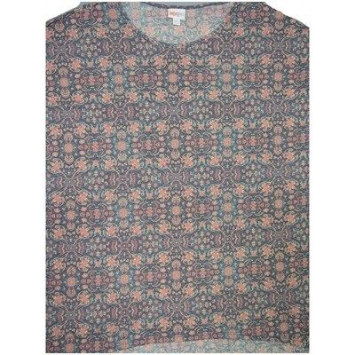 LuLaRoe Irma Tunic XX-Large 2XL Mandala Trippy 70s Geometric Dark Gray Pink Blue fits Womens 24-26
