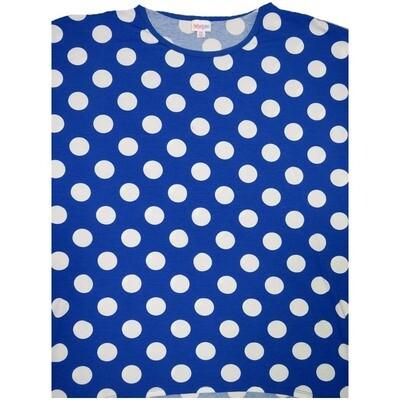 LuLaRoe Irma Tunic XX-Large 2XL Blue White Polka Dot fits Womens 24-26
