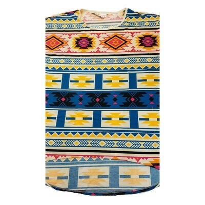 LuLaRoe Irma Tunic XX-Large 2XL Aztek Southwestern Blue Yellow Black fits Womens 24-26