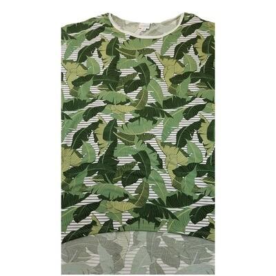 LuLaRoe Irma Tunic XX-Large 2XL Palm Leaves White Green Stripe fits Womens 24-26
