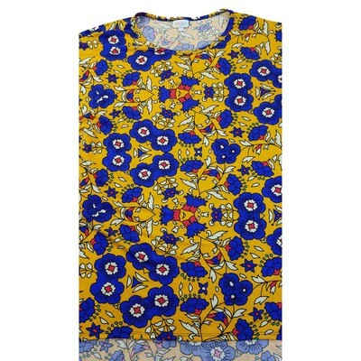 LuLaRoe Irma Tunic XX-Large 2XL Floral Dark Yellow Blue White fits Womens 24-26