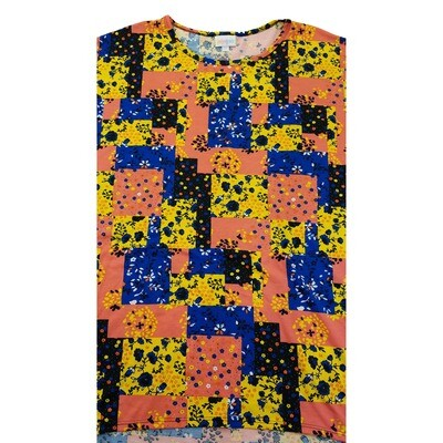 LuLaRoe Irma Tunic XX-Large 2XL Patchwork Geometric Peach Yellow Blue fits Womens 24-26