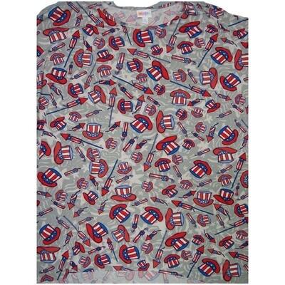 LuLaRoe Irma Tunic X-Large XL Americana USA Uncle Sam hat Fireworks Gray Red W Blue fits Women 20-22