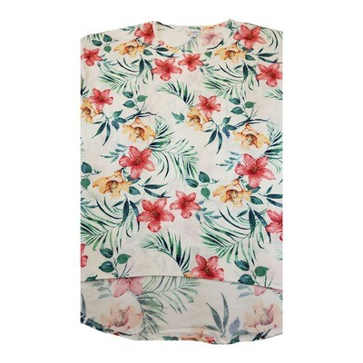 LuLaRoe Irma Tunic X-Large XL Floral Off White Green Yellow Red Lilies fits Women 20-22