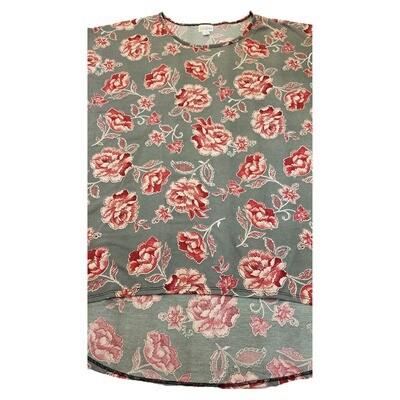 LuLaRoe Irma Tunic X-Large XL Roses Light Gray Red fits Women 20-22