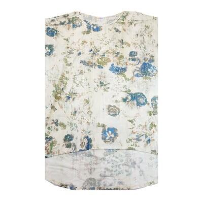 LuLaRoe Irma Tunic X-Large XL Roses Rustic White Blue Green Floral fits Women 20-22