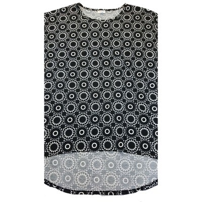 LuLaRoe Irma Tunic X-Large XL Mandala Polka Dot Black White fits Women 20-22