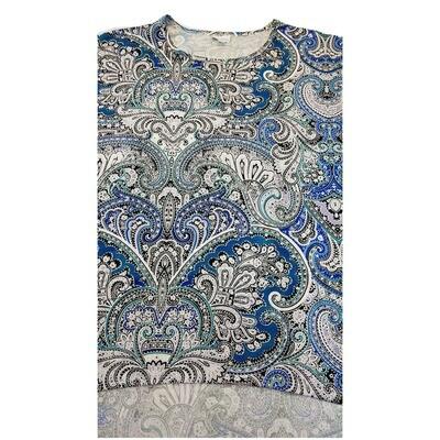 LuLaRoe Irma Tunic X-Large XL PaisleyBlue White Black fits Women 20-22