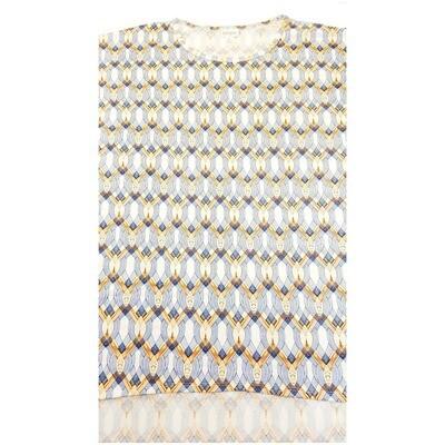 LuLaRoe Irma Tunic X-Large XL Woven Stripe White Blue Tan fits Women 20-22