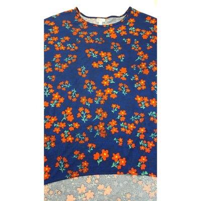 LuLaRoe Irma Tunic X-Large XL Floral Dark Blue Orange fits Women 20-22
