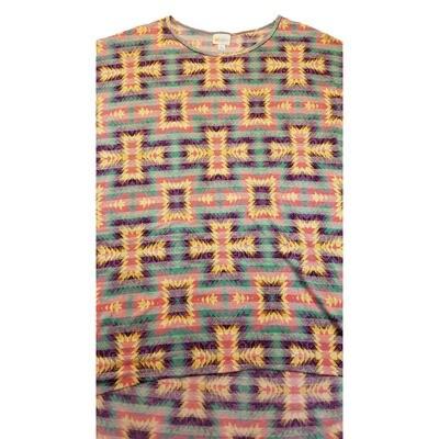 LuLaRoe Irma Tunic X-Large XL Aztek Stripe Yellow Peach Green fits Women 20-22