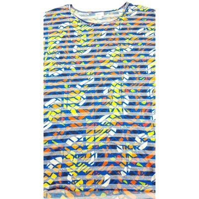 LuLaRoe Irma Tunic X-Large XL Floral Stripe Blue Yellow Orange White fits Women 20-22