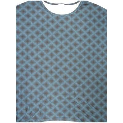 LuLaRoe Irma Tunic Medium M Trippy 70s Checkerboard Geometric Black Blue Ppp