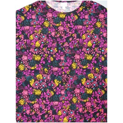 LuLaRoe Irma Tunic Medium M Floral Black Dark Pink Yellow Ppp
