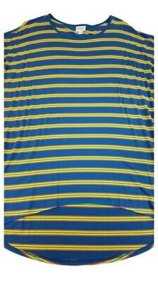 LuLaRoe Irma Tunic Medium M Slate Blue Orange Yellow And Green Stripes Multicolor Geometric Floral fits Women 12-14