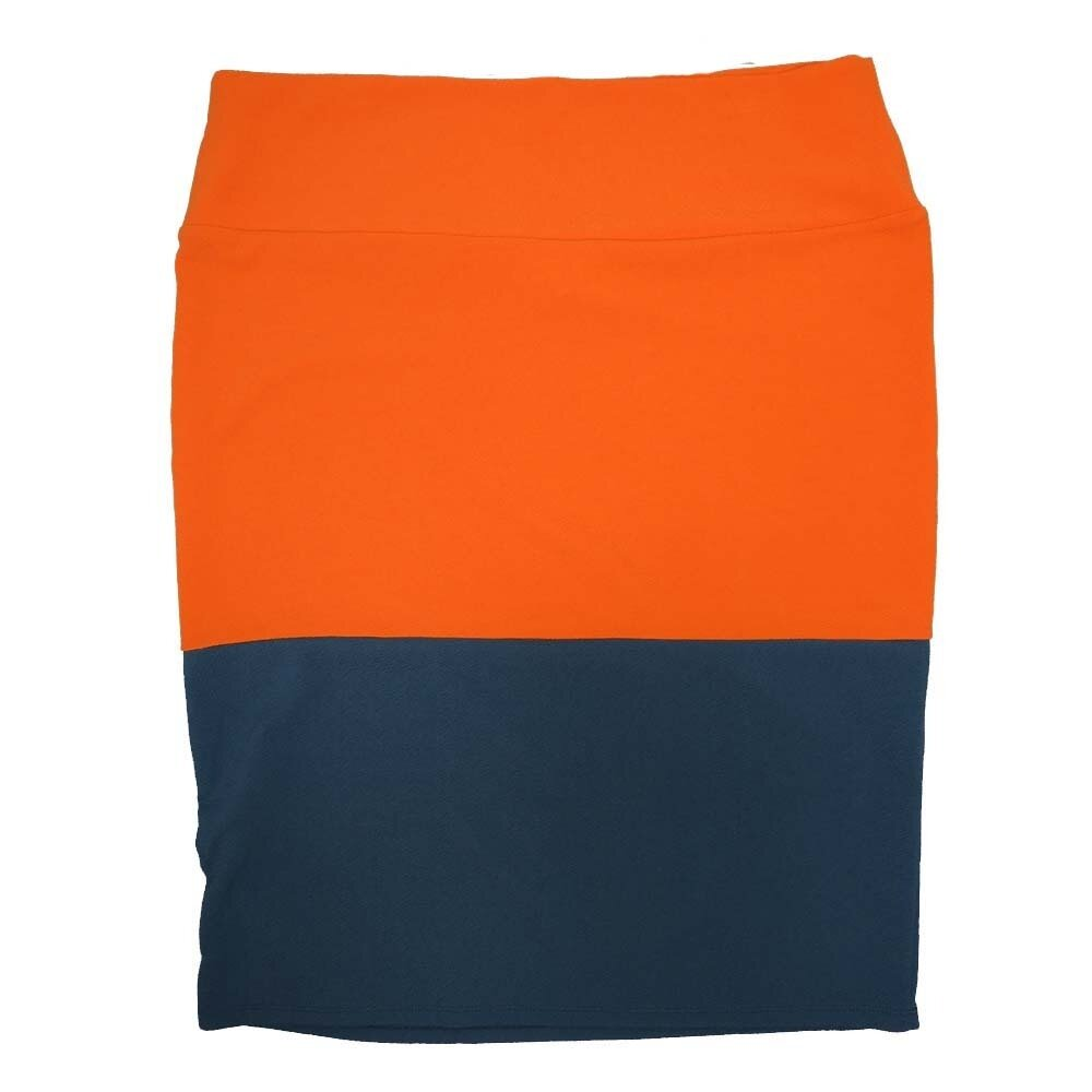 Cassie XXX-Large (3XL) LuLaRoe Two Tone Solid Navy Orange Womens Knee Length Pencil Skirt Fits 24-26