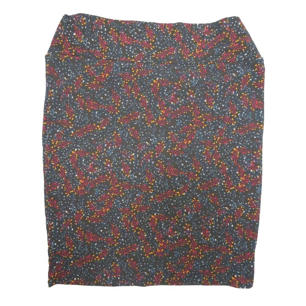 Cassie XXX-Large (3XL) LuLaRoe Geometric Polka Dot Dark Blue Maroon Yellow Womens Knee Length Pencil Skirt Fits 24-26